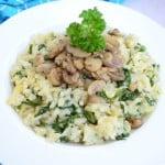 Ризотто с грибами и шпинатом по-итальянски