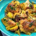 Жареная курица с картошкой и шафраном