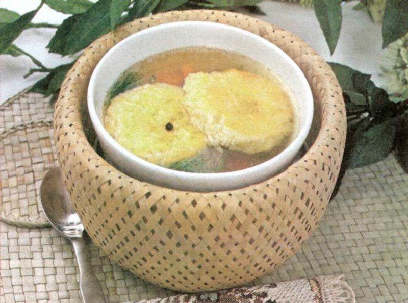 Бульон с запеченным рисом
